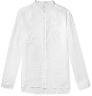 Mr P. - Grandad-Collar Linen Shirt - Men - White