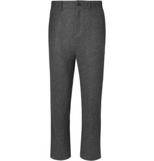 Mr P. - Herringbone Brushed-Wool Trousers - Men - Dark gray