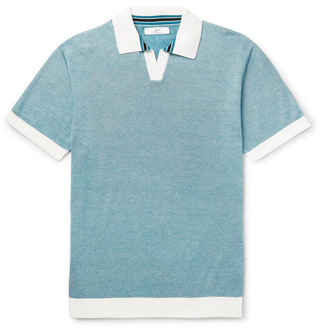 Mr P. - Knitted Cotton-Piqué Polo Shirt - Men - Teal