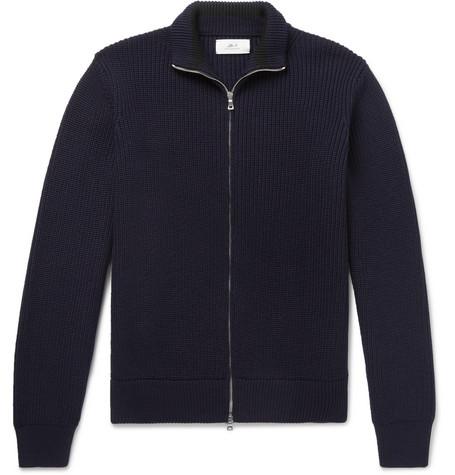 Mr P. - Merino Wool Zip-Up Cardigan - Men - Navy