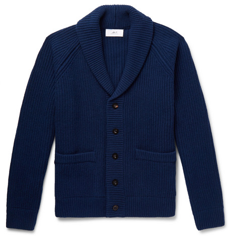Mr P. - Oversized Shawl-Collar Ribbed Wool and Cashmere-Blend Cardigan - Men - Navy