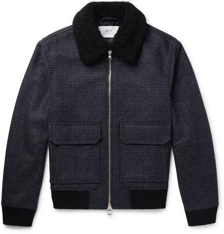 Mr P. - Shearling-Trimmed Checked Wool-Blend Aviator Jacket - Men - Navy
