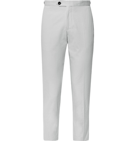 Mr P. - Slim-Fit Cotton-Twill Cropped Trousers - Men - Light gray