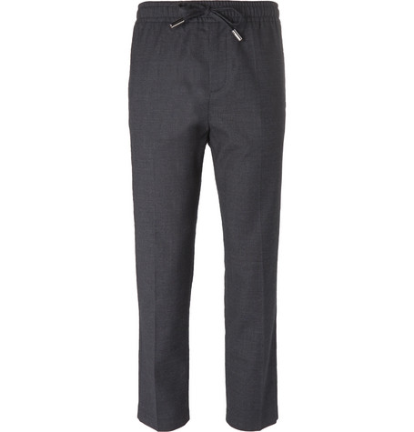 Mr P. - Slim-Fit Grey Stretch Wool and Cotton-Blend Drawstring Trousers - Men - Gray