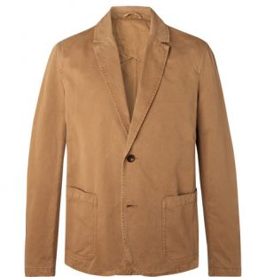 Mr P. - Tobacco Unstructured Garment-Dyed Cotton-Twill Blazer - Men - Brown