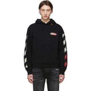 Off-White Black and Red Diag Logo Hoodie