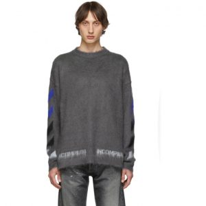 Off-White Grey Mohair Diag Sweater