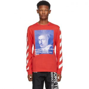 Off-White Red Diagonal Bernini Long Sleeve T-Shirt