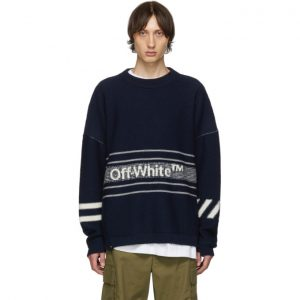 Off-White SSENSE Exclusive Navy Knit Sweater