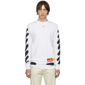 Off-White SSENSE Exclusive White Incomplete Spray Paint Long Sleeve T-Shirt