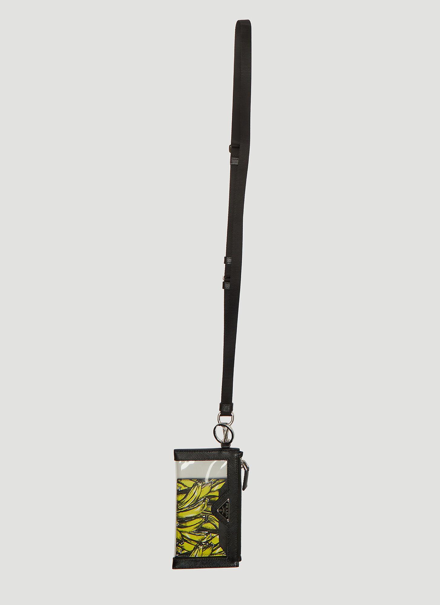 08573281 Prada Lanyard Banana Print Wallet in Black size One Size