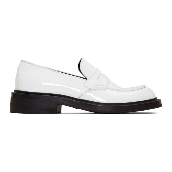 Prada White Patent Penny Loafers | The Fashionisto