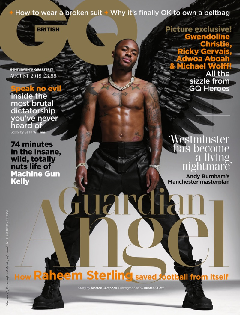 Raheem Sterling covers the August 2019 issue of British GQ.