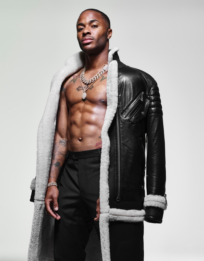 Front and center, Raheem Sterling sports Philipp Plein.