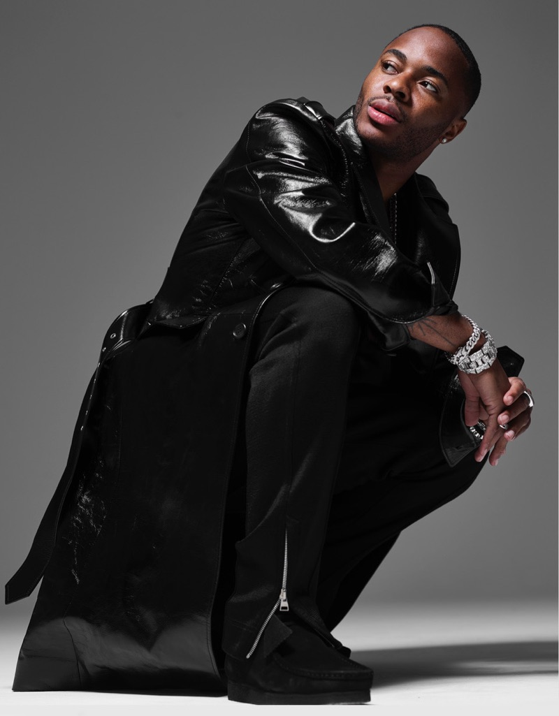 Donning a look from Prada, Raheem Sterling stars in a photo shoot for British GQ.