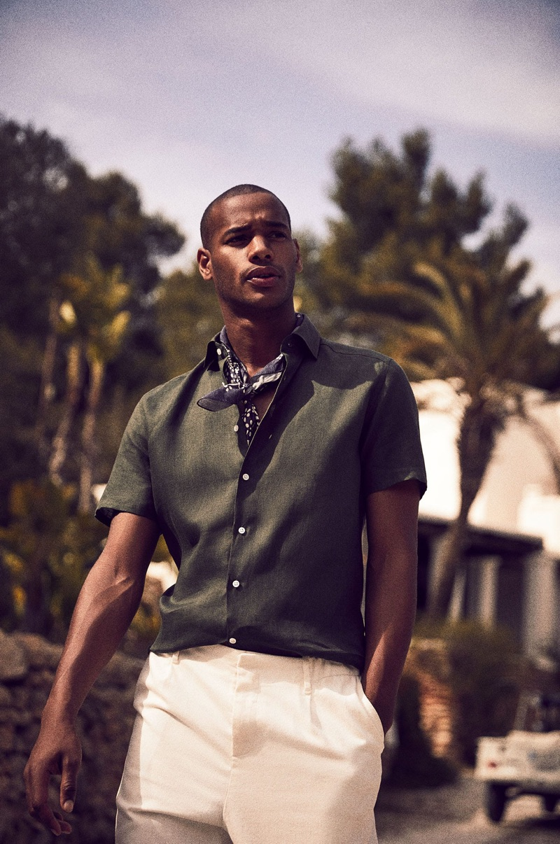 Sacha M'Baye dons chic summer style from Reiss.