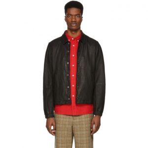 Saturdays NYC Black Leather Maury Jacket