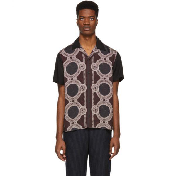 Saturdays NYC Black and Burgundy Mosaic Canty Short Sleeve Shirt