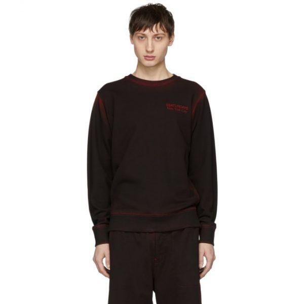 Saturdays NYC SSENSE Exclusive Black and Red Bowery Sweatshirt