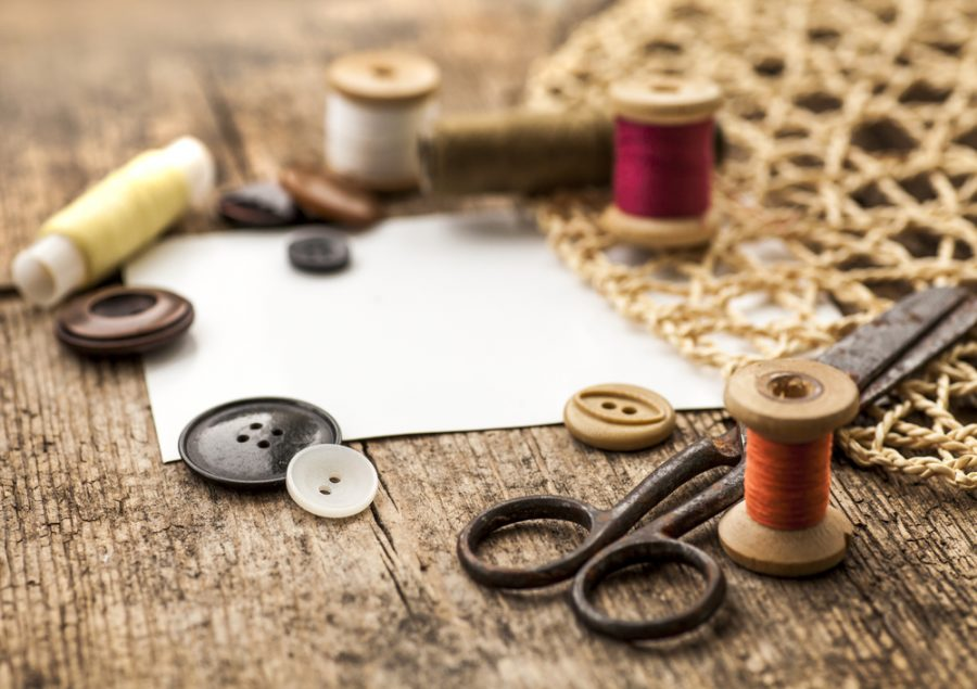 Sewing Materials Scissors Vintage Looking