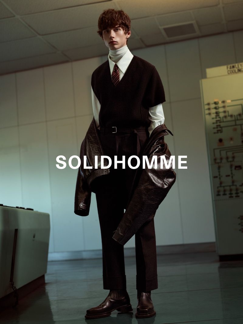 A smart vision, Augusts Traumanis is front and center for Solid Homme's fall-winter 2019 campaign.