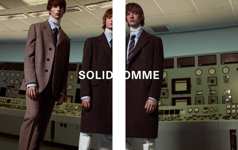 Models Augusts Traumanis and Bartolomé Chapel appear in Solid Homme's fall-winter 2019 campaign.