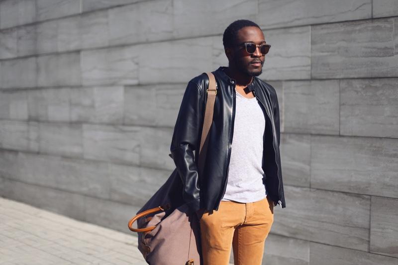 Street Style Look Leather Jacket Yellow Pants Black Man