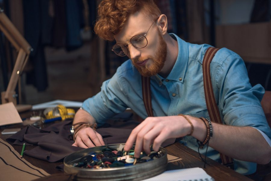 Stylish Hipster Man Suspenders Glasses Sewing
