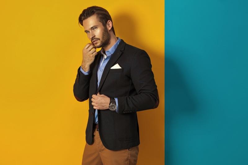 Stylish Male Model Blazer Beard