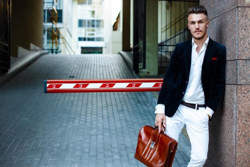 Stylish Man Street Style Blazer White Pants