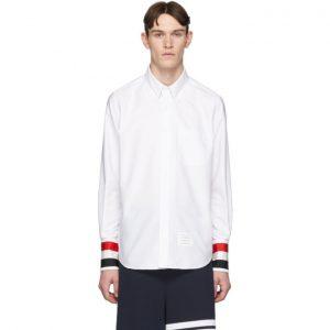 Thom Browne White Grosgrain Cuff Shirt