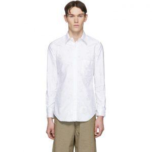 Thom Browne White Oxford Lattice Anchor Shirt