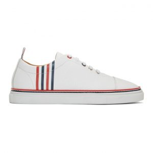 Thom Browne White Pebbled Leather 4-Bar Sneakers