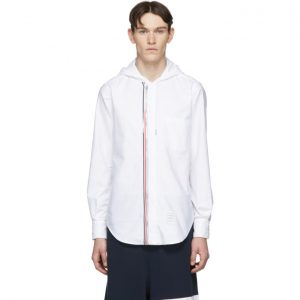 Thom Browne White Zip-Front Oxford Shirt