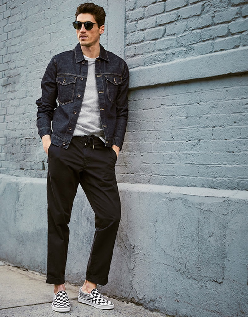 Joggers: Embrace a city cool with Todd Snyder's smart joggers. Here, model Ryan Kennedy sports the brand's stretch drawstring twill jogger $148 in black with a classic denim jacket.
