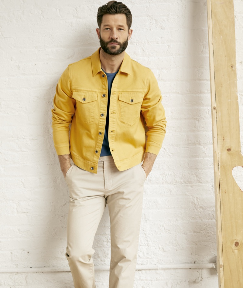 Statement Jacket: Add a pop of color to your wardrobe with a standout jacket. Take a cue from model John Halls, who wears Todd Snyder's garment dyed twill jacket $119 in mustard.