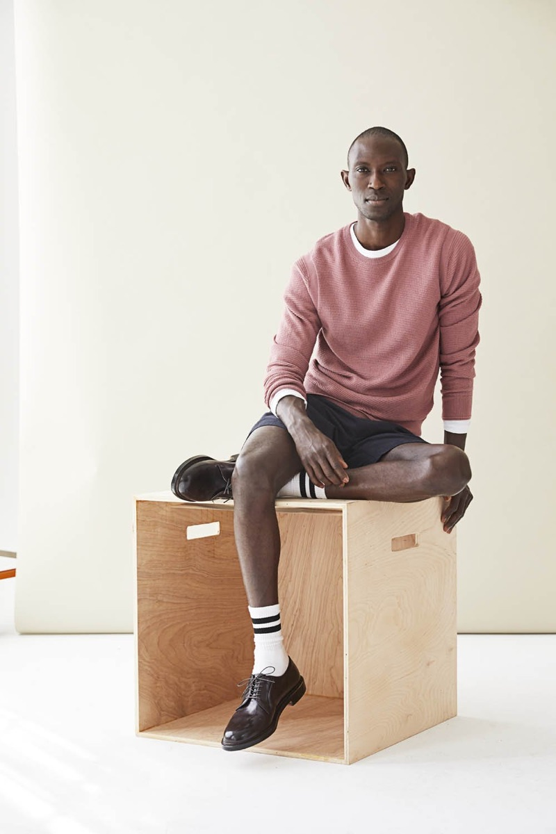 Embracing color, Armando Cabral wears Todd Snyder's Italian merino pink waffle sweater $198.
