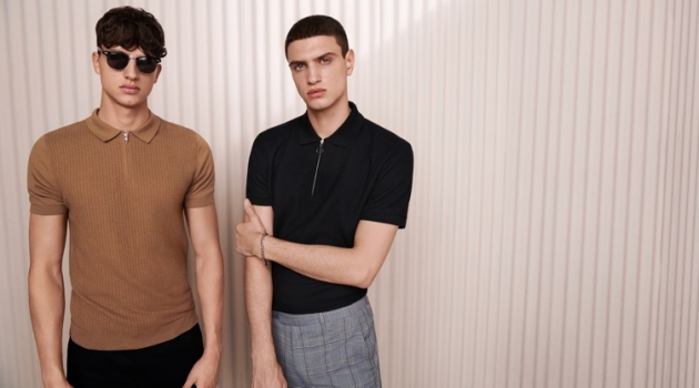 Smart style is front and center as Romain Hamdous and Azim Osmani wear zippered polos with trousers by Topman.