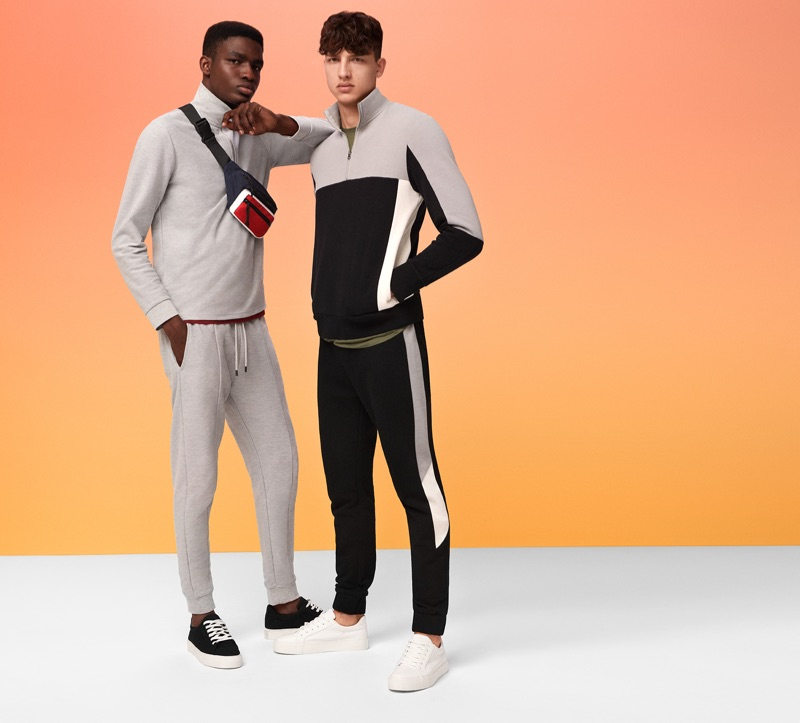 Going sporty, Michael Oladayo Chima and Romain Hamdous wear activewear by Topman.