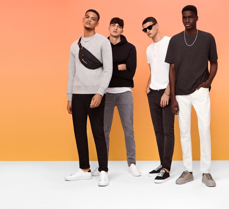 Embracing basics, Glen Abrantes, Romain Hamdous, Azim Osmani, and Michael Oladayo Chima model Topman.