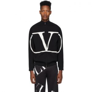 Valentino Black VLogo Zip-Up Sweater
