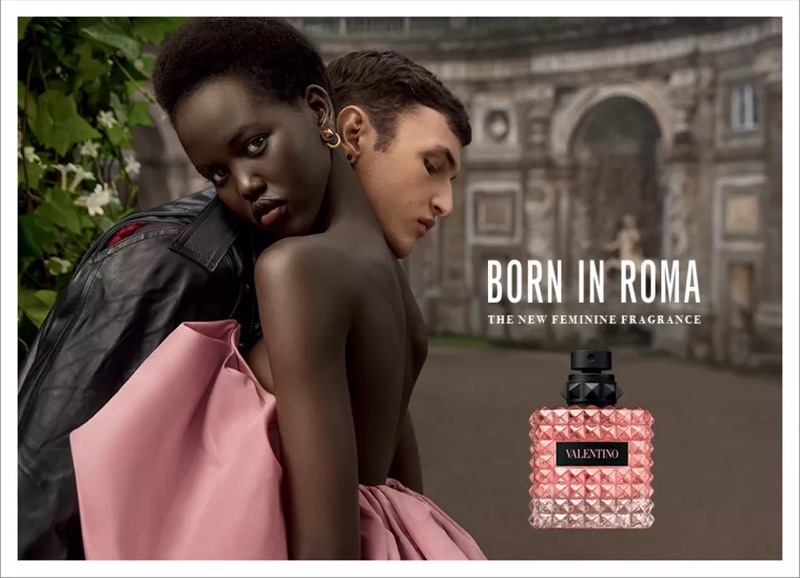 Models Adut Akech and Anwar Hadid star in the Valentino Born in Roma fragrance campaign.