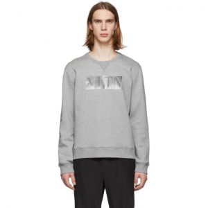 Valentino Grey Metallic VLTN Sweatshirt
