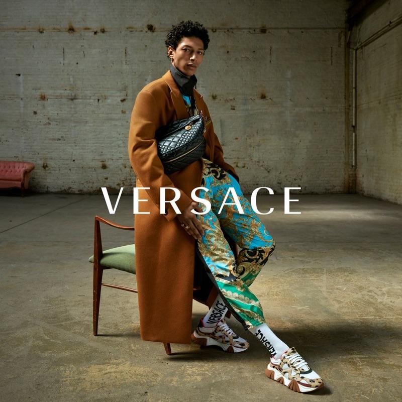 Yassine Jaajoui fronts Versace's fall-winter 2019 men's campaign.