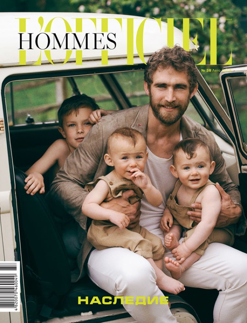 Will Chalker & Family Star in L'Officiel Hommes Ukraine Cover Story