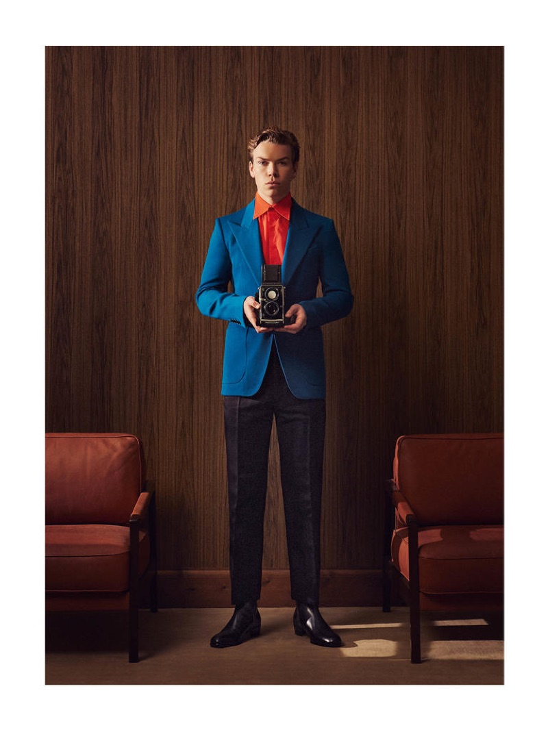Front and center, Will Poulter wears a GIVENCHY jacket £2,185, shirt £550 and trousers £690; DUNHILL boots £775.
