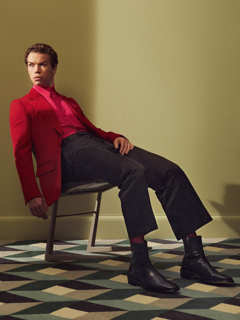Connecting with Harrods magazine, Will Poulter dons a GIVENCHY jacket £2,185, shirt £590 and trousers £690; FALKE socks £60; PIERRE HARDY boots £715.