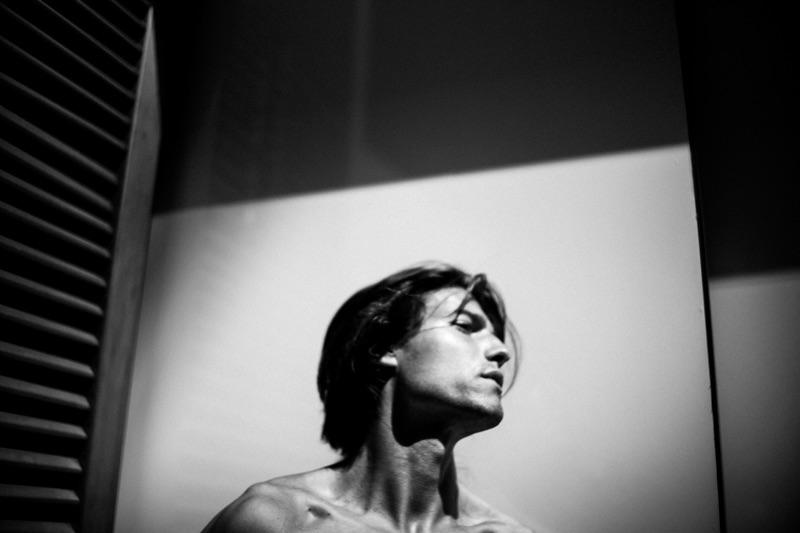 Delivering a side profile, Yannick Hansen appears in a black and white photo.