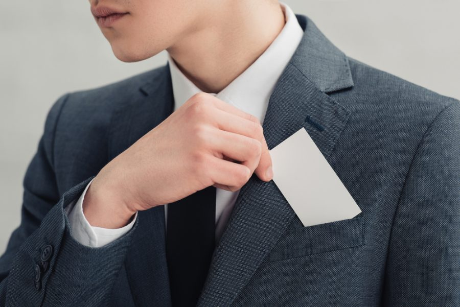 Young Man Business Card Suit