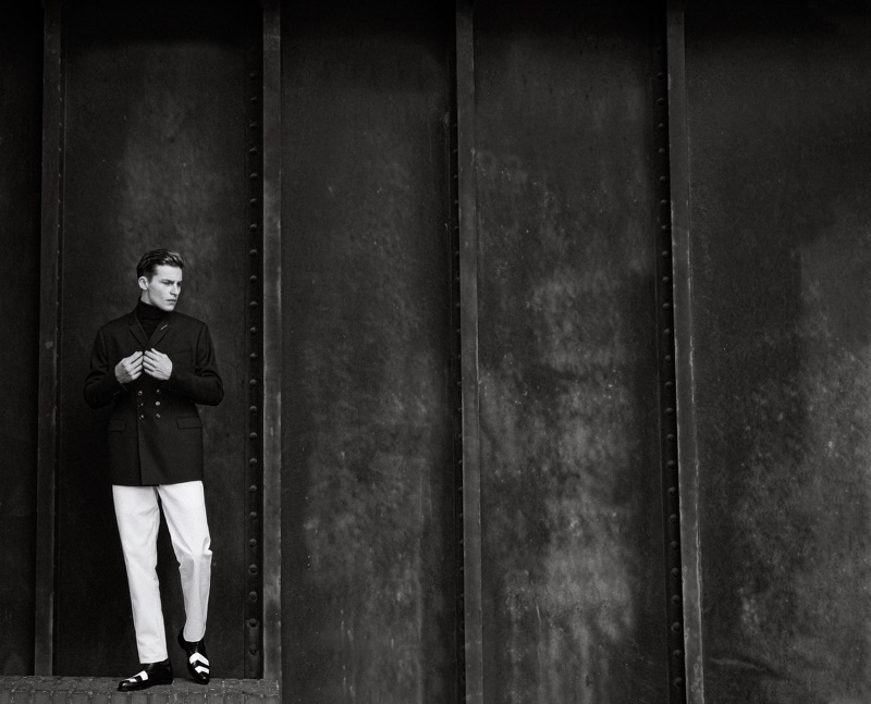 """Yulef wears jacket Dior Men, trousers BOSS, and """"Charles Derby"""" shoes Yves Saint Laurent."""